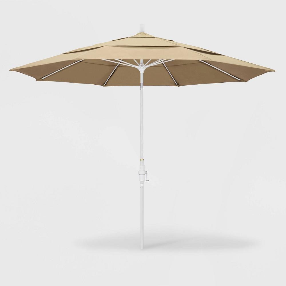 Image of 11' Sun Master Patio Umbrella Collar Tilt Crank Lift - Pacifica Beige - California Umbrella