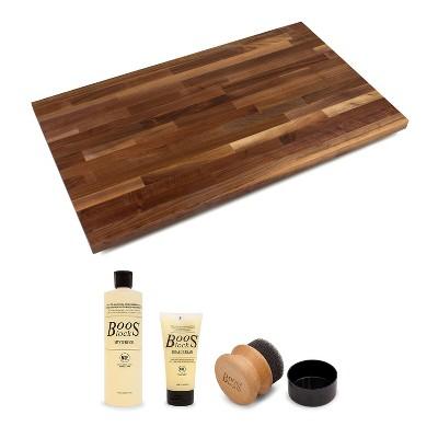 John Boos Walnut Solid Wood Finish Natural Edge Grain Kitchen 48 x 38 x 1.5 inches Cutting Board with 3 Piece Maintenance Set