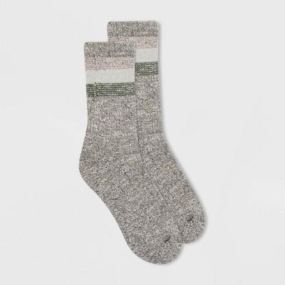 Alaska Knits Women's Wool Blend Colorblock Striped Crew Boot Socks - 4-10