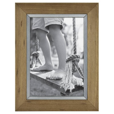 "5"" x 7"" Wood with Metal Edge Frame Brown - Threshold™"