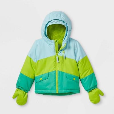 Toddler Colorblock Ski Jacket - Cat & Jack™ Teal/Lime