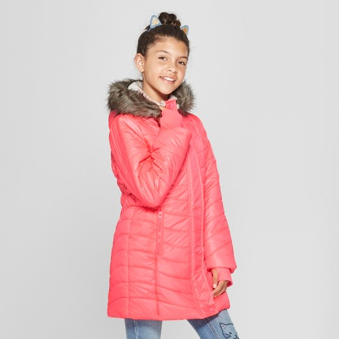 Girls' Long Solid Puffer Jacket - Cat & Jack™ Coral - image 1 of 4