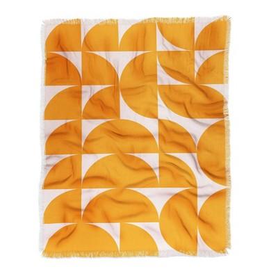 "50""x60"" June Journal Mid Century Modern Geometrics Woven Throw Blanket Orange - Deny Designs"
