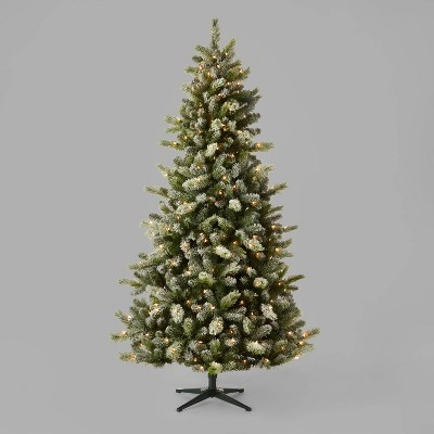 7ft Pre-Lit Full Frosted Glittered Douglas Fir Artificial Christmas Tree Clear Lights - Wondershop™