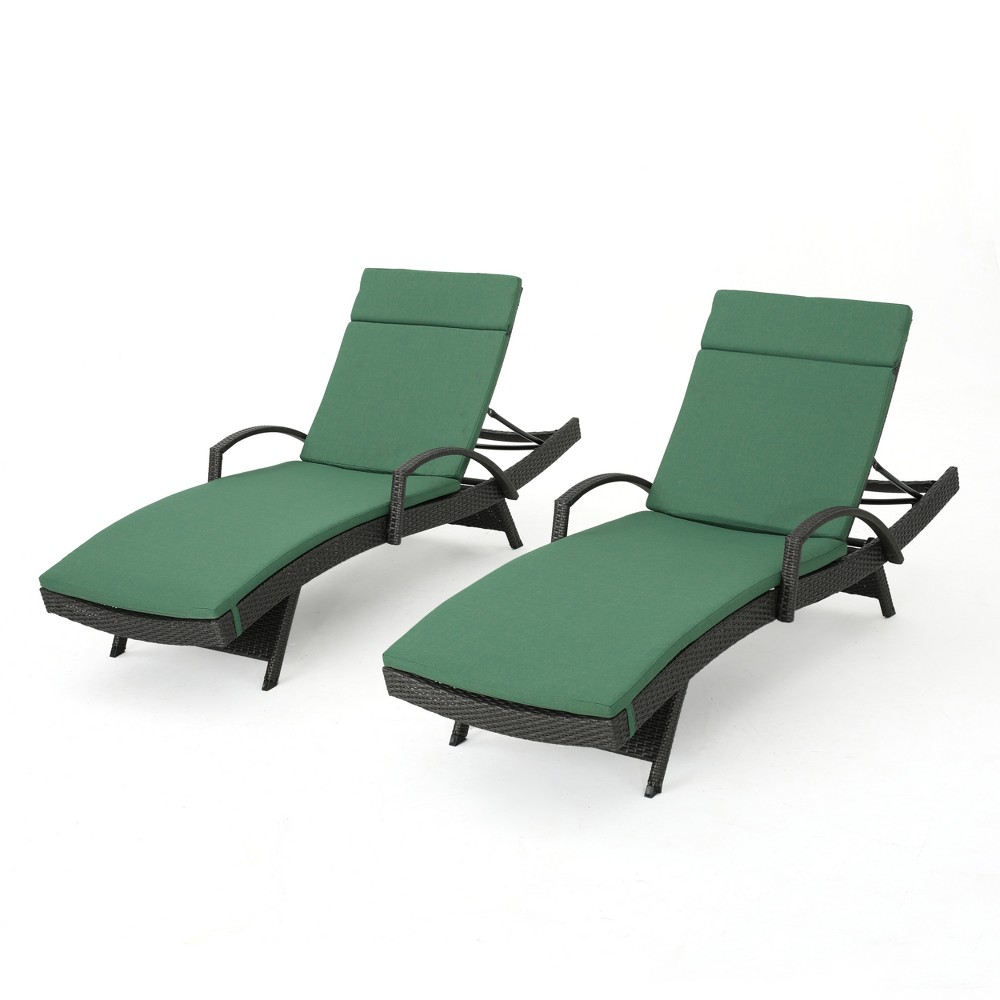 Salem Set of 2 Gray Wicker Adjustable Chaise Lounge with Arms - Jungle Green - Christopher Knight Home