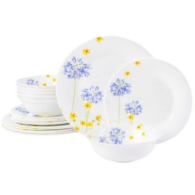 Gibson Ultra 18pc Opal Tempered Glass Dinnerware Set - White Floral Decal