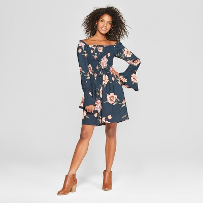 26814f33234 Womens Floral Print Long Sleeve Printed Smocked Top Square Neck Dress -  Xhilaration™ Teal S