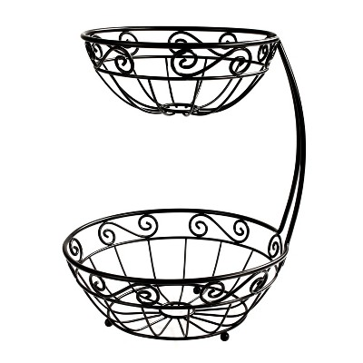 Spectrum Scroll Arched 2-Tier Fruit Server - Black