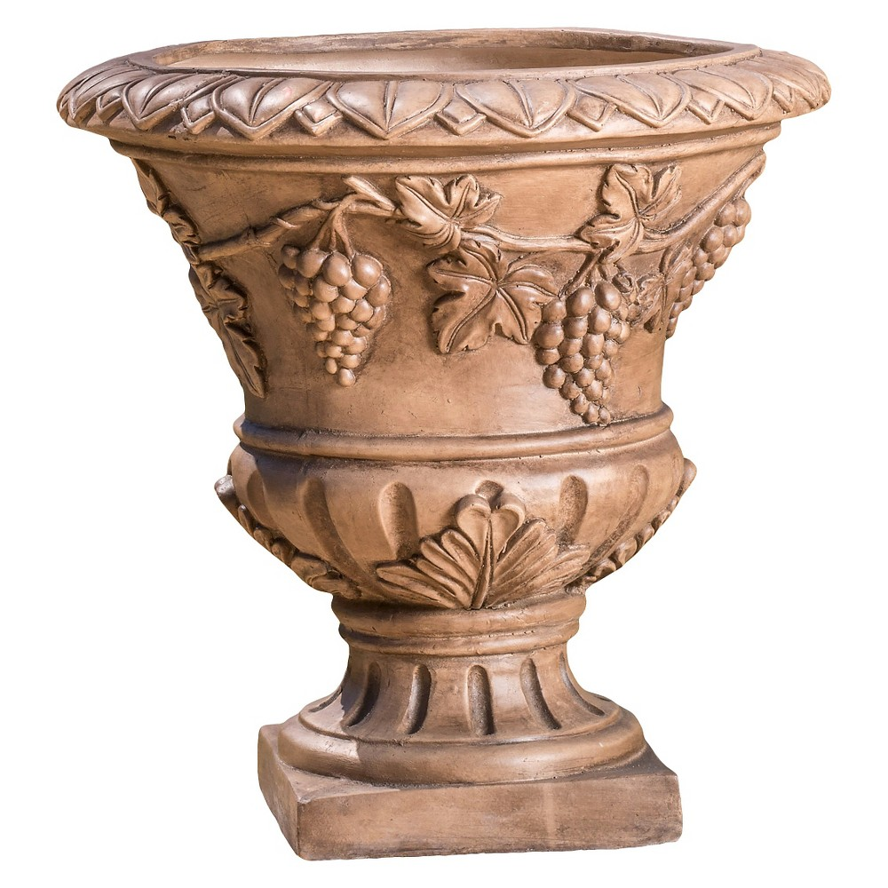 Image of 21 Roman Cast Stone Patio Urn - Christopher Knight Home, Light Brown