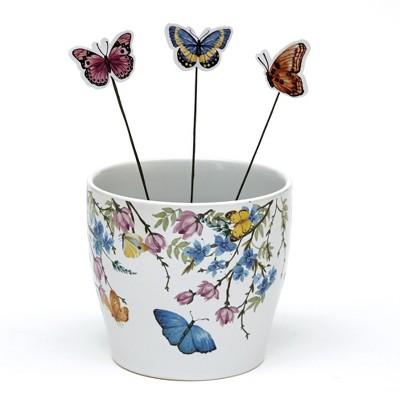 Lakeside Ceramic Planter with Decorative Picks - Cute Garden Accent