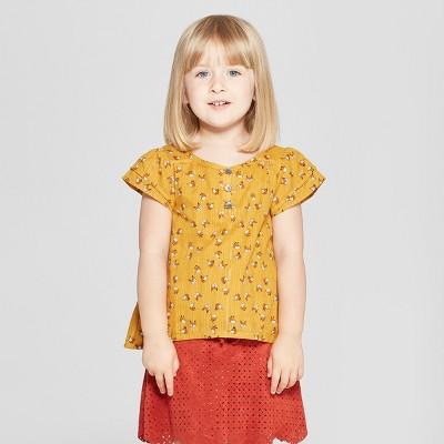 Toddler Girls' Cap Sleeve Blouse - Genuine Kids® from OshKosh Gold 2T