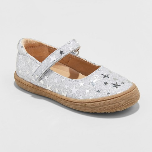 Toddler Girls' Annabelle Glitter Metallic Adjustable Easy Close Mary Jane - Cat & Jack™ Silver 12 - image 1 of 3
