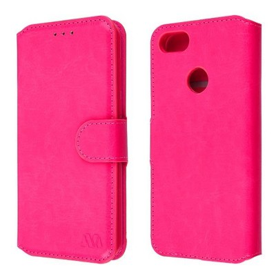 Valor MyJacket Element Series Flip Leather Fabric Cover Case w/stand/card slot For Motorola Moto E6 Play - Pink