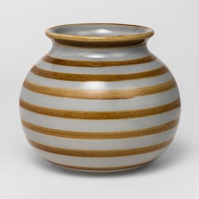 Ceramic Stripe Vase Medium - Gray/Brown - Threshold™