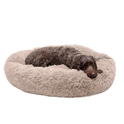 FurHaven Calming Cuddler Long Fur Donut Dog Bed