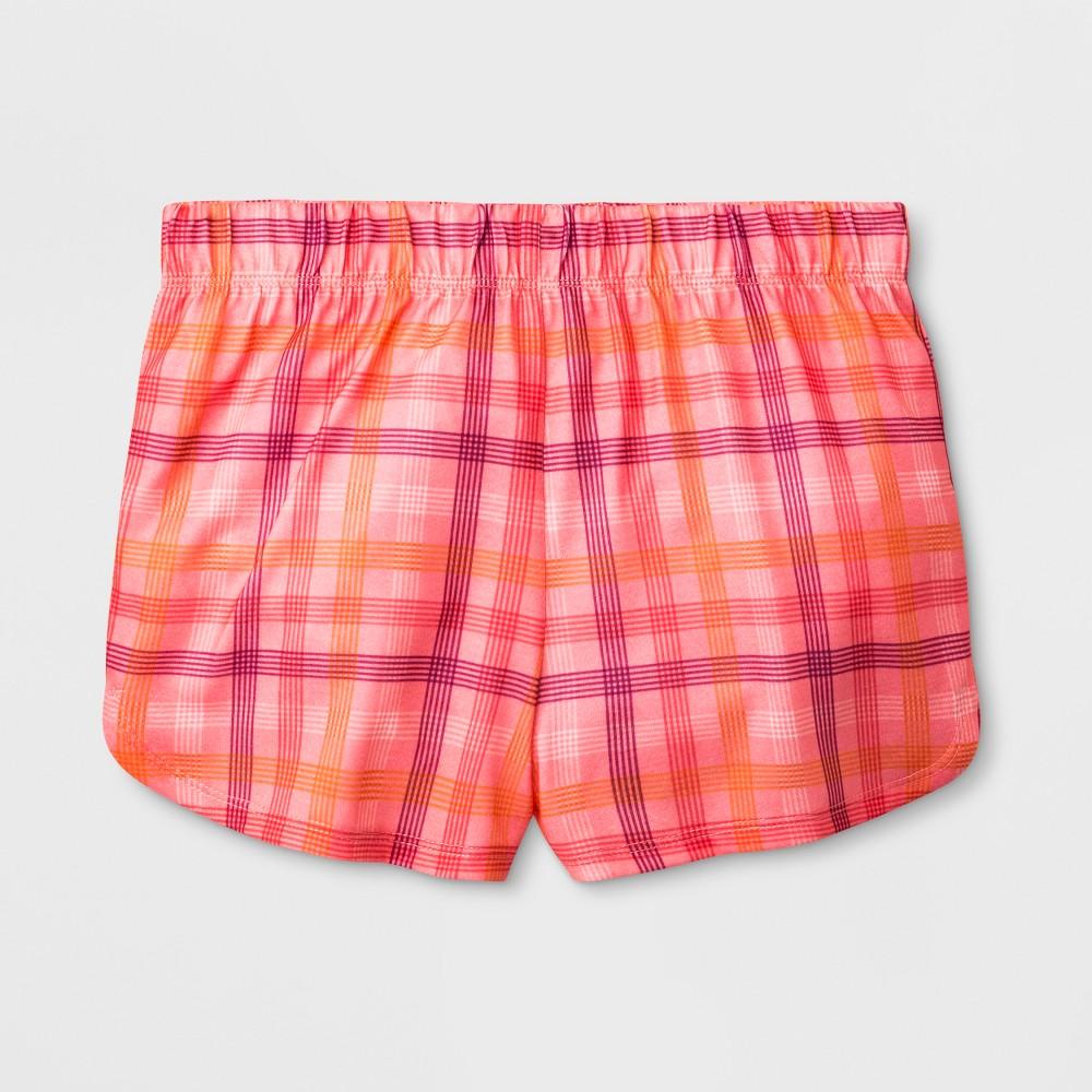 Girls' Dolphin Plaid Pajama Shorts - Cat & Jack Peach M, Pink