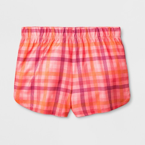 Girls' Dolphin Plaid Pajama Shorts - Cat & Jack™ Peach - image 1 of 1