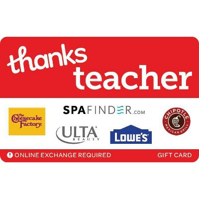 Thanks Teacher Gift Card (Email Delivery)