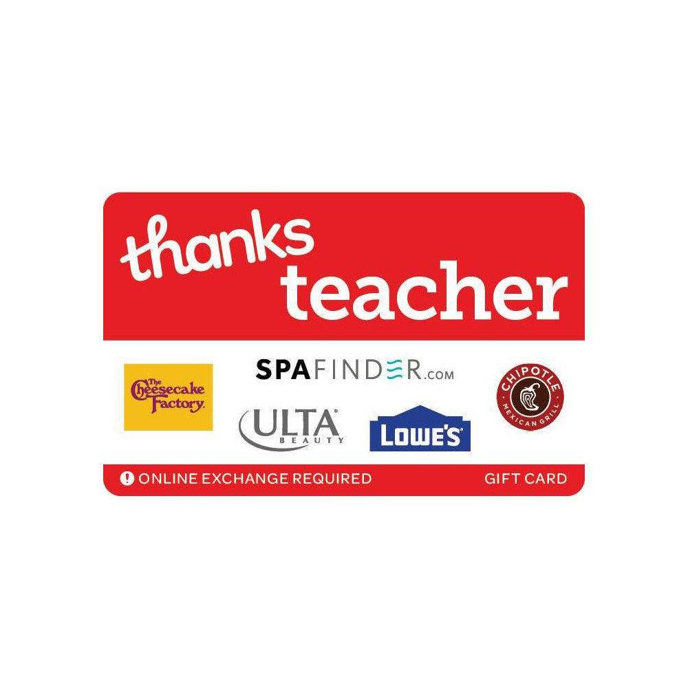 Thanks Teacher Gift Card 75 Email Delivery