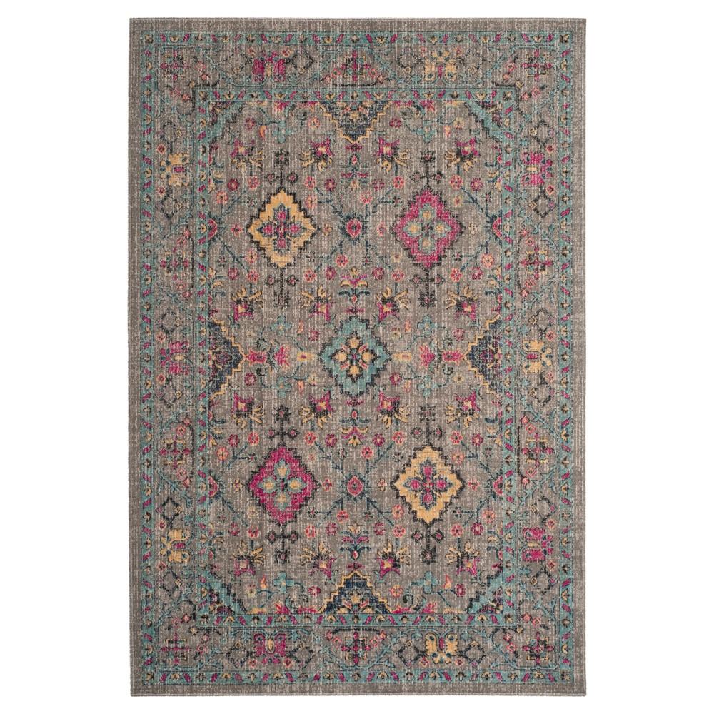 Light Gray Leaf Loomed Accent Rug 3'3