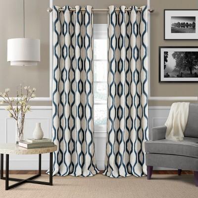 Renzo Ikat Geometric Linen Room Darkening Window Curtain Panel - Elrene Home Fashions