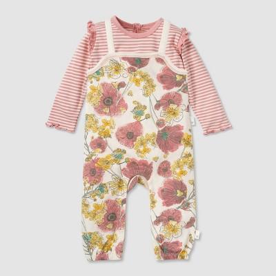 Burt's Bees Baby® Baby Girls' Organic Cotton Poppies & Mustard Jumpsuits - Pink 3-6M
