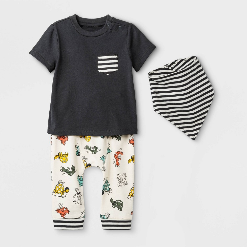 Baby Boys' 3pc Pocket T-Shirt, Span Jersey Leggings , & Bib Set - Cat & Jack Black/Cream 18 M, Size: 18M, Off-White Gray
