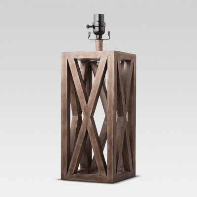 Washed Wood Box Large Lamp Base Brown - Threshold™