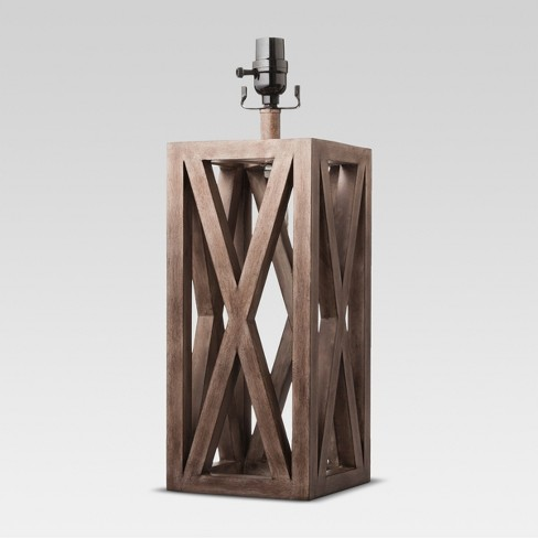 Washed Wood Box Large Lamp Base Brown - Threshold™ - image 1 of 1
