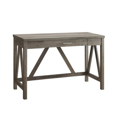 46  Rustic Farmhouse AFrame Computer Writing Desk with Drawer Gray Wash - Saracina Home