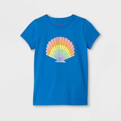 Girls' Rainbow Seashell Graphic Short Sleeve T-Shirt - Cat & Jack™ Blue