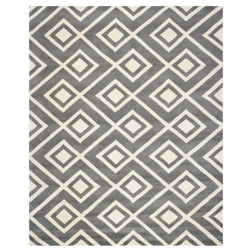 Top 9X12 Geometric Area Rug Dark Gray Ivory - Safavieh