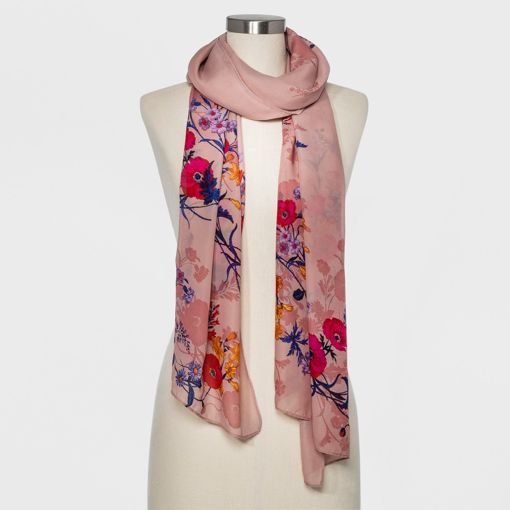 Women's Floral Print Oblong Scarf - A New Day Pink