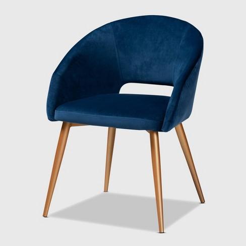Vianne Velvet Upholstered Metal Dining Chair Navy Blue Gold Baxton Studio Target