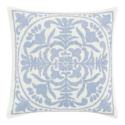 18x18 Mila Embroidered Medallion Throw Pillow Blue - Laura Ashley