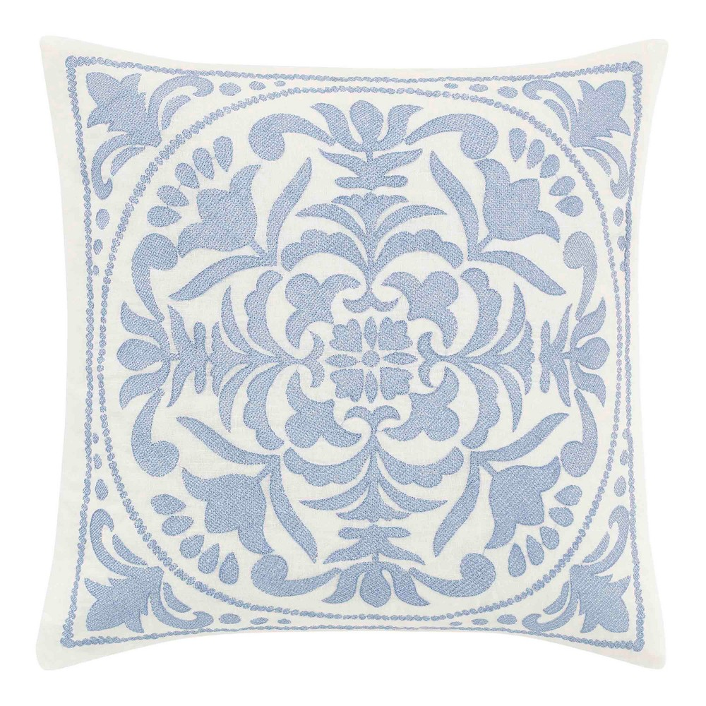 Image of 18x18 Mila Embroidered Medallion Throw Pillow Blue - Laura Ashley