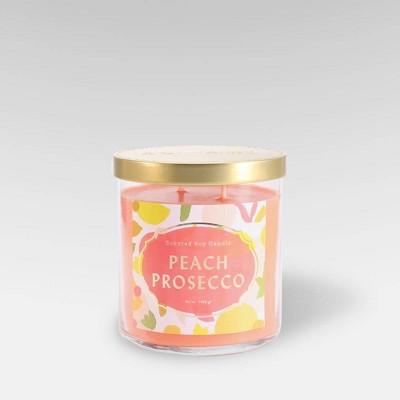 15.1oz Lidded Glass Jar 2-Wick Candle Peach Prosecco - Opalhouse™
