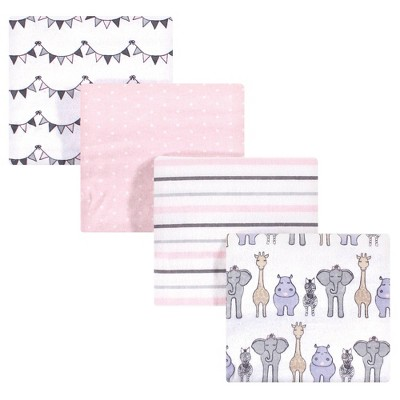 Hudson Baby Unisex Baby Cotton Flannel Receiving Blanket - Pink Safari One Size