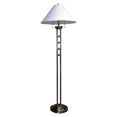 """63"""" Traditional Metal Floor Lamp with Unique Etched Base Silver - Ore International"""