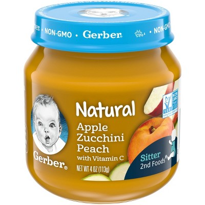 Gerber 2nd Food Natural Glass Apple Zucchini Peach Baby Meals - 4oz