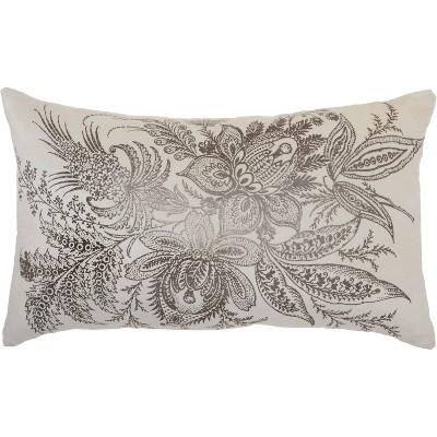 """14""""x20"""" Oversize Metallic Florals Lumbar Throw Pillow - Kathy Ireland Home"""