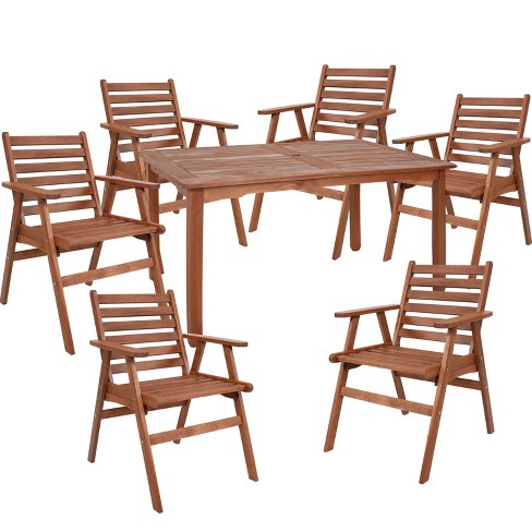 7pc Meranti Wood Patio Dining Set With 5 Dining Table Sunnydaze Decor Target