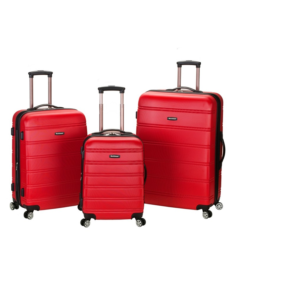 Rockland Melbourne 3pc Expandable Abs Spinner Luggage Set Red