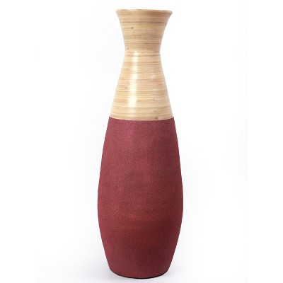 "Uniquewise 31.5"" Tall Handcrafted Bamboo Floor Vase, Burgundy and Natural"