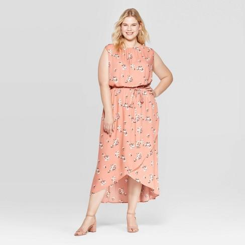 Women\'s Plus Size Floral Print Sleeveless Crewneck Wrap Skirt Maxi Dress -  Ava & Viv™ Apricot
