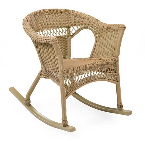 Fantastic Easy Care Resin Wicker Rocker Natural Plow Hearth Spiritservingveterans Wood Chair Design Ideas Spiritservingveteransorg