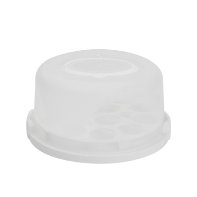 Juvale 2-In-1 Round Cake Carrier with Lid for 6-8 Inch Pies, 13 Cupcakes (11 x 5.75 In)