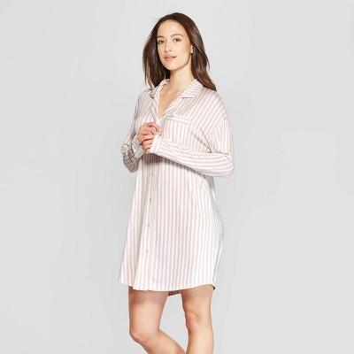 Women's Striped Beautifully Soft Notch Collar Nightgown - Stars Above™ Pink XL