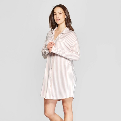Women's Striped Beautifully Soft Notch Collar Nightgown - Stars Above™ Pink - image 1 of 2