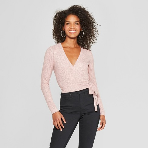 Women's Long Sleeve Hacci Knit Wrap Top - Xhilaration™ Rose S - image 1 of 2